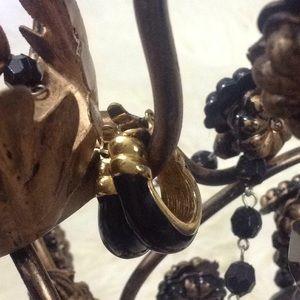 Vtg Enamel & Gold Clip on Hoop Earrings